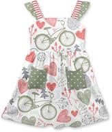 Penelope Plumm Girls' Casual Dresses - White & Green Heart Bicycles Pocket Ruffle A-Line Dress - Toddler & Girls