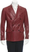 Dolce & Gabbana Double-Breasted Grained Leather Coat w/ Tags