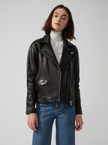 Frank + Oak Leather Biker Jacket in True Black