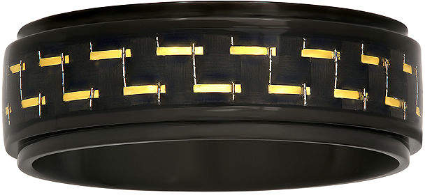 JCPenney MODERN BRIDE Mens Black Ceramic with Carbon Fiber Inlay 8mm Wedding Band