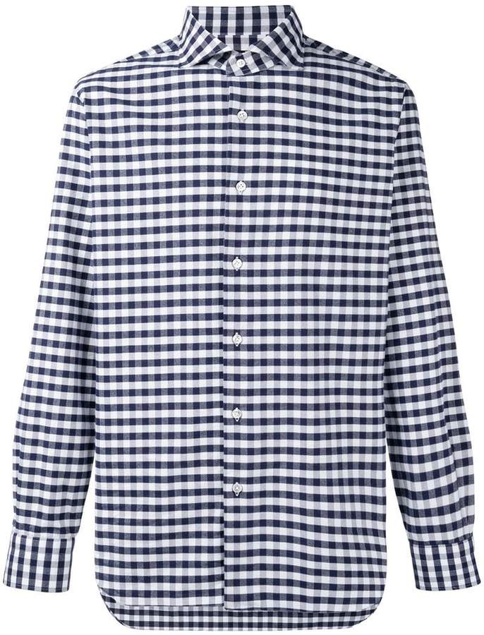 Barba gingham print shirt