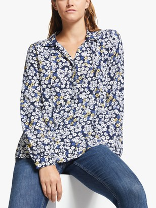 Collection WEEKEND by John Lewis Celia Floral Print Tie Neck Blouse, Navy