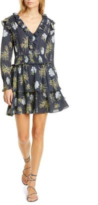 Rebecca Taylor Jasmine Floral Long Sleeve Cotton Gauze Dress