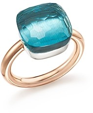 Pomellato Nudo Maxi Ring with Blue Topaz in 18K Rose and White Gold
