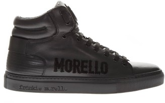 Frankie Morello Black Leather High Top Logo Sneakers
