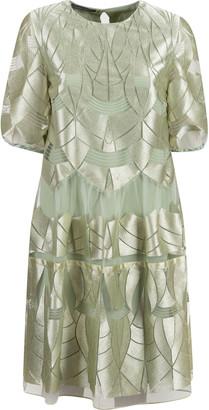 Alberta Ferretti Laser-cut Layered Dress
