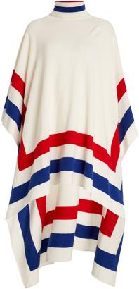 Madeleine Thompson Women's Striped-Trim Cashmere Poncho - White - Moda Operandi