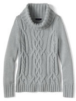 Lands' End Women's Petite Merino Blend Cable Cowl Neck Sweater-Vicuna Heather