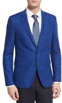 BOSS Tonal Glen Plaid Wool Sport Coat, Bright Blue