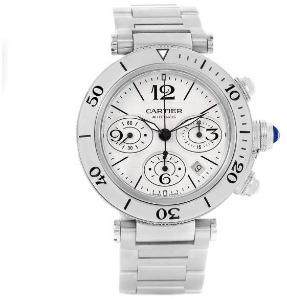 Cartier Pasha Seatimer Chrono W31089M7 Stainless Steel 42.5mm Automatic Mens Watch