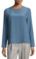 Peserico Long-Sleeve Round-Neck Blouse, Blue