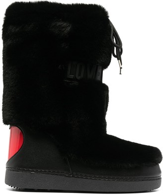 Love Moschino Logo-Embossed Faux Fur Snow Boots