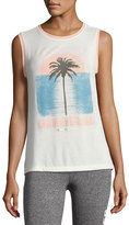Spiritual Gangster Sunkissed Palm Chakra Muscle Tank, White