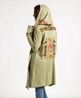 Paparazzi Sage Floral-Embroidered Hooded Open Cardigan