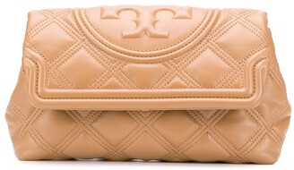 Tory Burch Fleming quilted-effect clutch bag