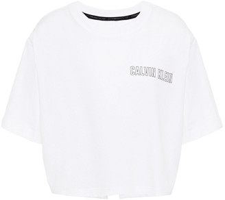 Calvin Klein Cropped Printed Stretch-cotton-jersey T-shirt