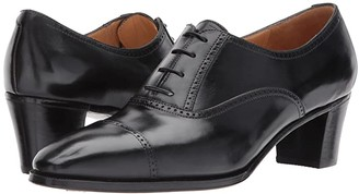 Gravati Mid-Heel Cap Toe Oxford (Black) Women's Lace Up Cap Toe Shoes