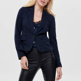 Only Denim Fitted Blazer with Single-Breasted Button