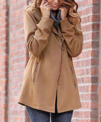Z Avenue Women's Non-Denim Casual Jackets Mocha - Mocha French Terry Moto Jacket - Women & Plus