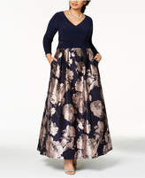 Xscape Evenings Plus Size Illusion Brocade Ball Gown