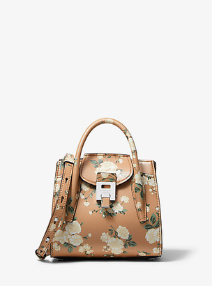 Michael Kors Bancroft Mini Floral Calf Leather Satchel