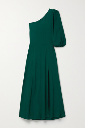 Reformation Lawrence One-shoulder Crepe Midi Dress - Emerald