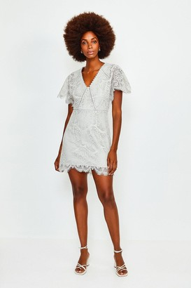 Karen Millen Fluted Sleeve Lace Dress