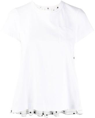 Sacai polka dot print flared T-shirt