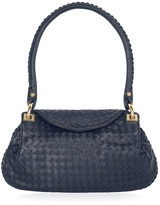 Fontanelli Dark Blue Woven Italian Leather Flap Shoulder Bag