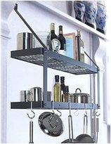 Rogar Bookshelf Rack with Grid In White and Chrome - Two Shelves