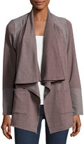 Bobeau Two-Pocket Fleece Open-Front Cardigan, Taupe