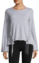 Betsey Johnson Lace-Up Hem Pullover Cotton Sweatshirt