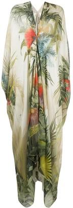 Roberto Cavalli Botanical-Print Kaftan Dress
