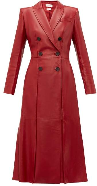 Alexander McQueen Double Breasted Fluted Hem Leather Coat - Womens - Dark Red