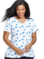 Style&Co. Plus Size Star-Print Short-Sleeve Top