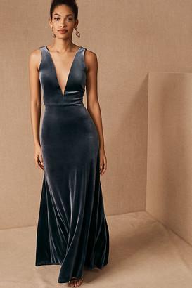 Jenny Yoo Logan Velvet Dress By in Blue Size 6