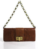 Kooba Brown Leather Chain Link Strap Turn Lock Close Small Shoulder Handbag