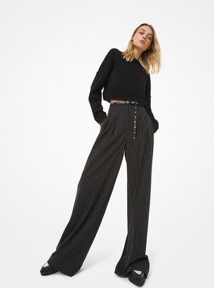 Michael Kors Pinstripe Stretch Wool Wide-Leg Trousers