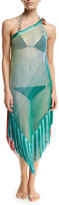 Missoni Mare One-Shoulder Two-Tone Coverup Dress with Fringe Trim, Multicolor