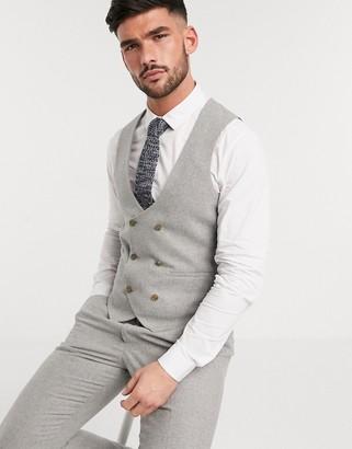 Harry Brown slim fit wedding summer tweed double breasted suit suit vest