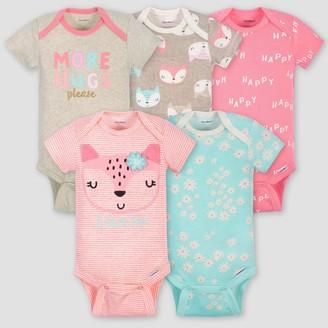 Gerber Baby Girls' 5pk Short Sleeve Fox Bodysuits - Coral/Green/Light Brown