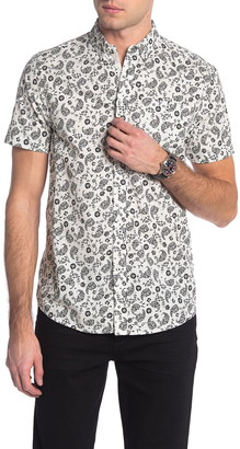 Report Collection Paisley Floral Short Sleeve Slim Fit Shirt