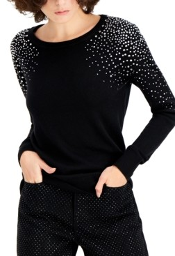 INC International Concepts Inc Rhinestone-Shoulder Sweater, Created for Macy's