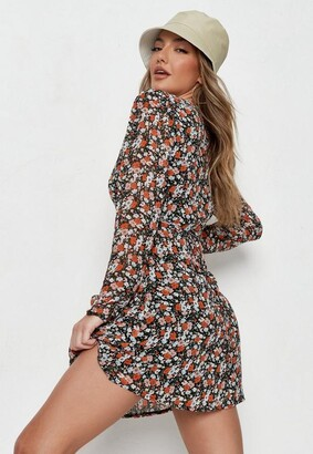 Missguided Peach Floral Half Button Tea Dress