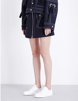 Kenzo Contrast-stitch wool and cotton-blend skirt