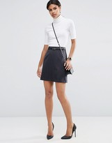 Asos Belted Mini Skirt in Pinstripe