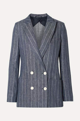 Max Mara Bellico Double-breasted Pinstriped Linen Blazer - Navy