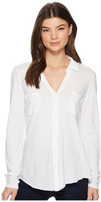 Michael Stars Ultra Jersey Long Sleeve Button Down (White) Women's Clothing