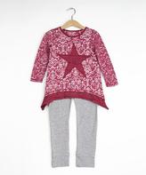 Me & Ko Red Fashion Star Top & Leggings Set - Girls