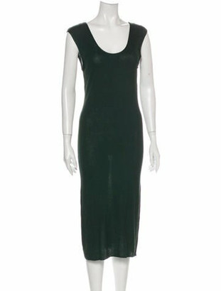 Hermes Scoop Neck Midi Length Dress Green